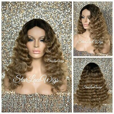 Dirty Blond Wig (Full Wig Body Wave Long Dirty Blonde Dark Root Middle Part Heat Ok Wig For)