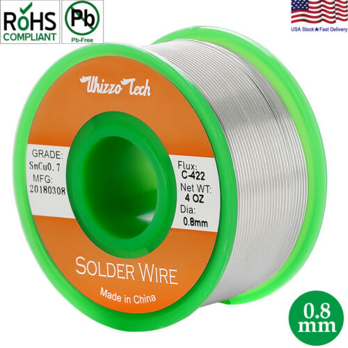 "Tin Solder Wire .031""/0.8mm Lead Free Rosin Core Soldering Sn99.3 Cu0.7 3.5oz"