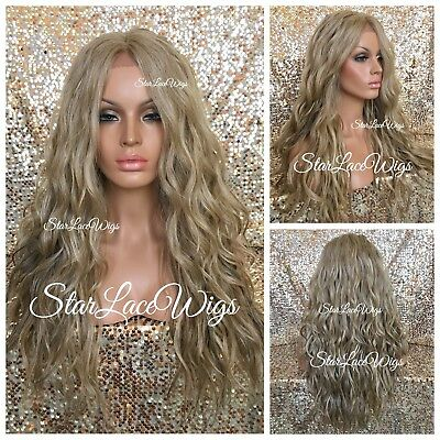 Lace Front Wig Sandy Blonde Ash Blonde Champagne Blonde Long Wavy Layers Heat Ok