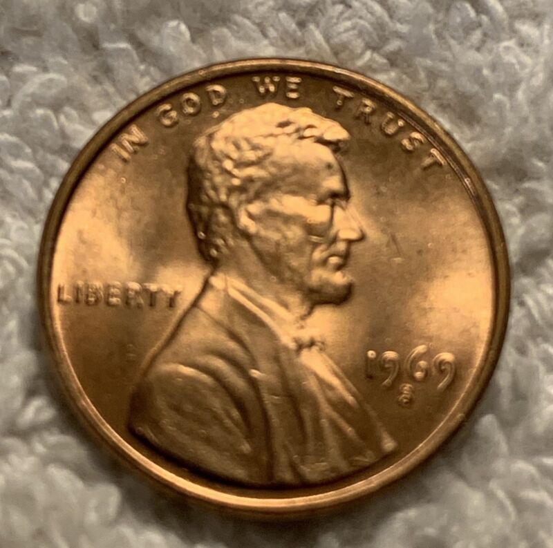 2x 1969-S LINCOLN CENT IN UNC CONDITION FROM OBW ROLL WOW LOOK