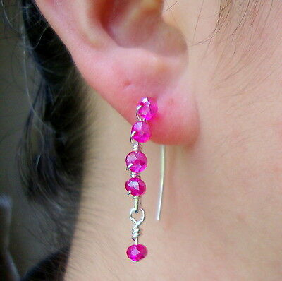Hot Fushia Rose Pink Crystal Silver Marquise Dangle Earrings Awareness Holiday