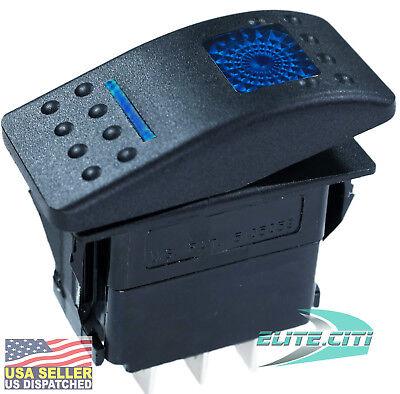 Carling Sealed Lighted Rocker Switch Spst 4 Connections V1d1g66b-00000-000 Blue