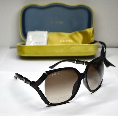 GUCCI GG0505S 005 BAMBOO SHINY BLACK GRADIENT BROWN OVERSIZED  SUNGLASSES. 58 mm