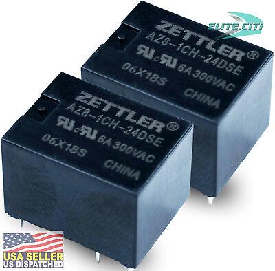 Zettler Pcb Relay 24vdc Miniature Sealed Spdt 6a300vac Az8-1ch-24dse Pack 2