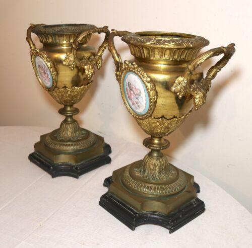pair of antique ornate gilt bronze porcelain painting urn vase garniture ewer