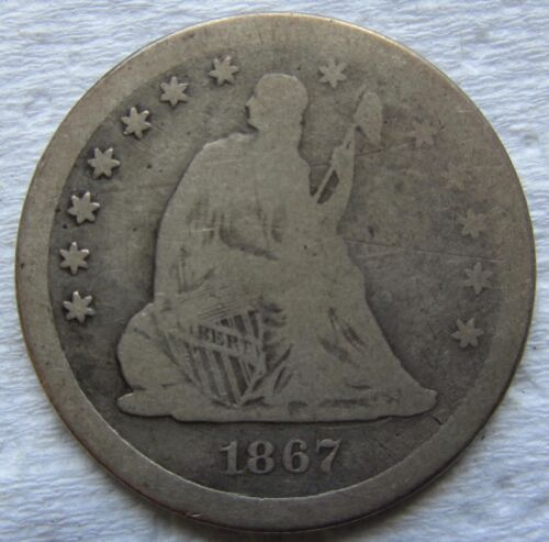 1867-S Seated Liberty Quarter Very Rare Date VG Details