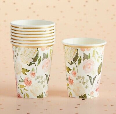 Bridal Shower Paper (8 Pink Green Floral Paper Cups for Baby Shower Bridal Shower Tea Party)