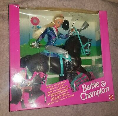 BARBIE AND CHAMPION GIFT SET DOLL HORSE INTERACTIVE 1994 RARE LE