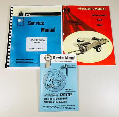 International 420 Baler Service Operators Knotter Repair Shop Manual Set