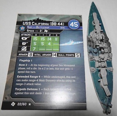 Axis and Allies War At Sea Miniature USS California Task Force 22/60 BB 44 Naval
