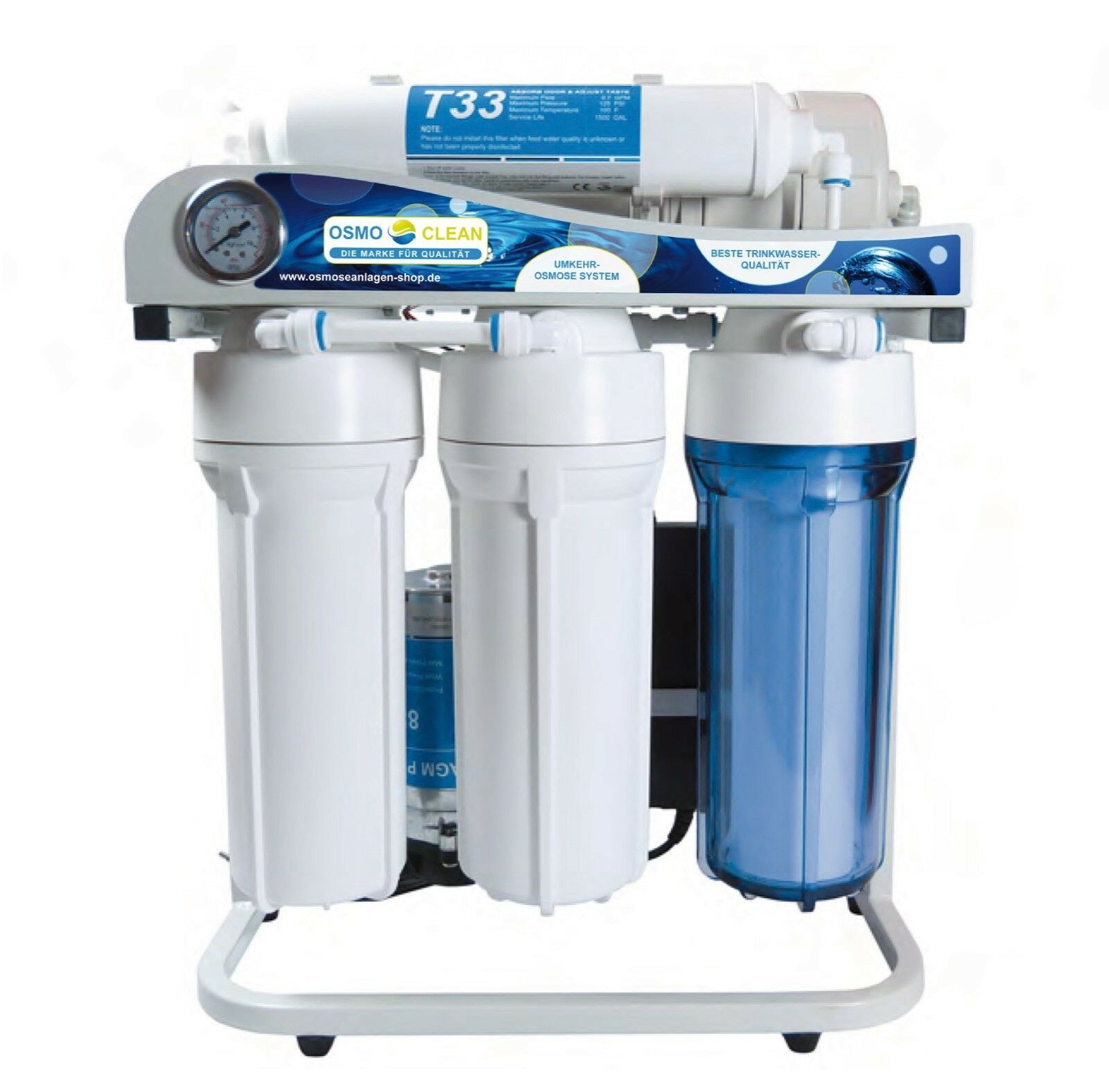 Osmose 500 GPD Directflow Osmoseanlage Wasser Filterset vormontiert Messgerät