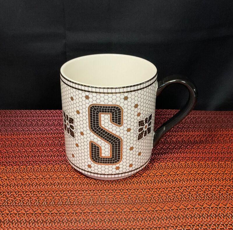 Anthropologie Tiled Margot Mug Cup Letter S Coffee Monogram Tile Bistro Initial