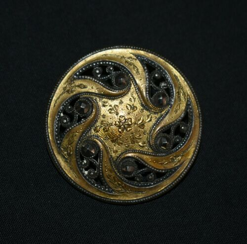 "U14. COLLECTIBLE BUTTON 1 1/2"" CUP PAISLEY SWIRLS W/ CUT STEEL RIVETED / BRASS"
