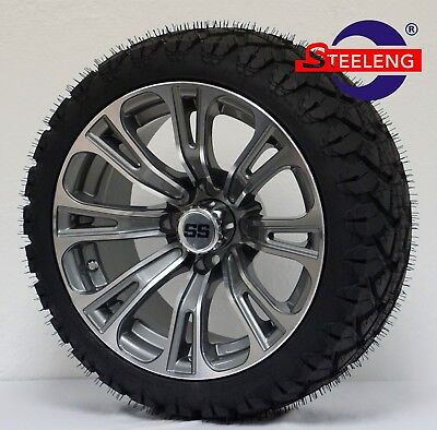 "GOLF CART 14"" GUNMETAL VECTOR WHEELS and 20"" STINGER ALL TERRAIN TIRES DOT RATED"