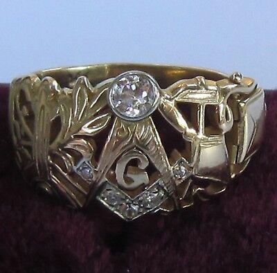 7 Diamond 14K Gold Vintage 1940-50 Secret Compartment Masonic Ring Sz 9.5 - 9.75