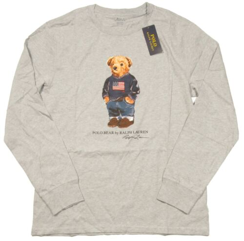 Polo Ralph Lauren Boys Grey Heather Polo Bear Graphic Long Sleeve T-Shirt