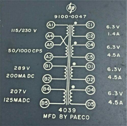 HP  Power Transformer 289V - 200 MADC / 207V - 125 MADC , 3 X 6.3V 4.5A 1 X 1.4A