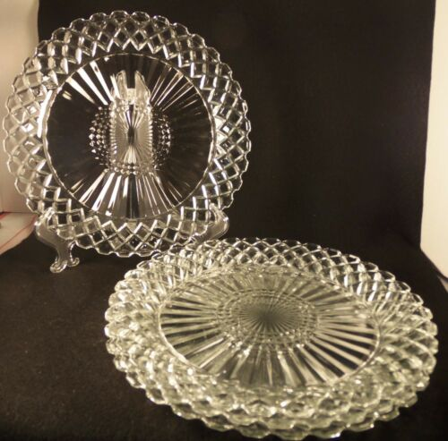 Set of 4 Vintage Anchor Hocking Waterford Waffle Crystal Dinner Plates 9 5/8""