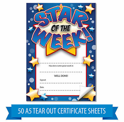 Star of the Week tear out home note reward certificates, 50 A5 sheets per - Star Of The Week