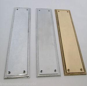 12 heavy duty solid cast brass georgian finger plate door for Door finger plates