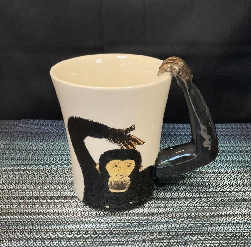 Pier 1 One Monkey Hand Painted Stoneware Mug 3D Arm Handle Chimp