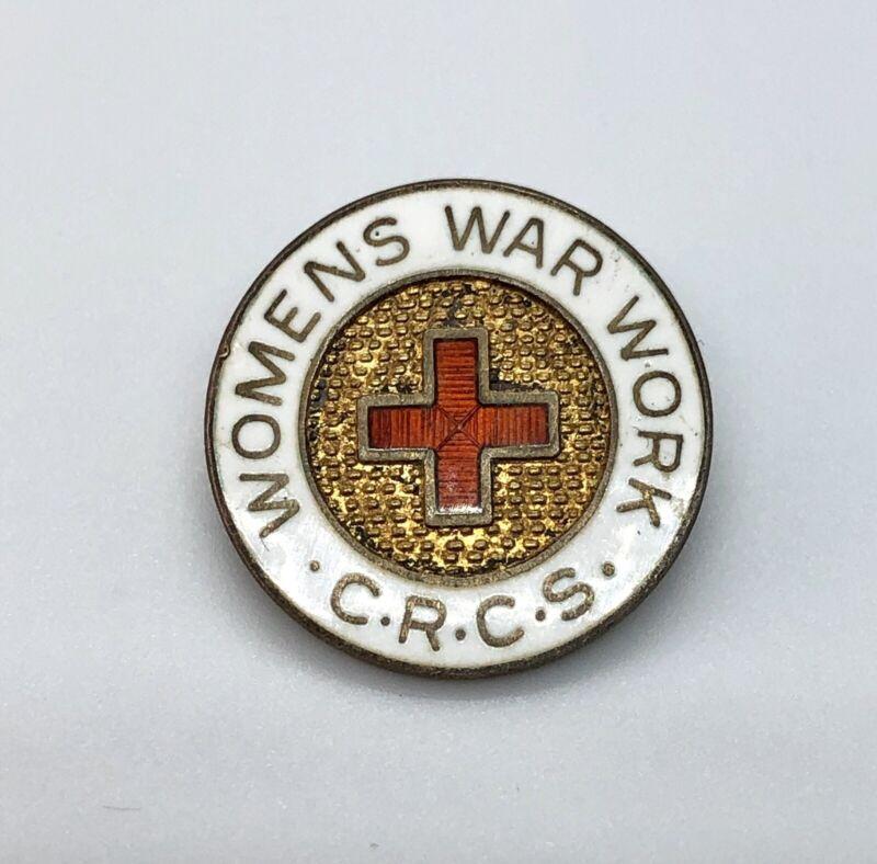 CRCS Canadian Red Cross Society WWII Era Sterling & Enamel Lapel Pin Women