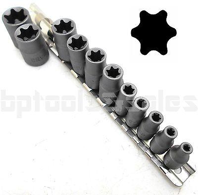 (11pc Torx Star Bit Female E Socket Set Automotive Shop Tools External E4-E20)
