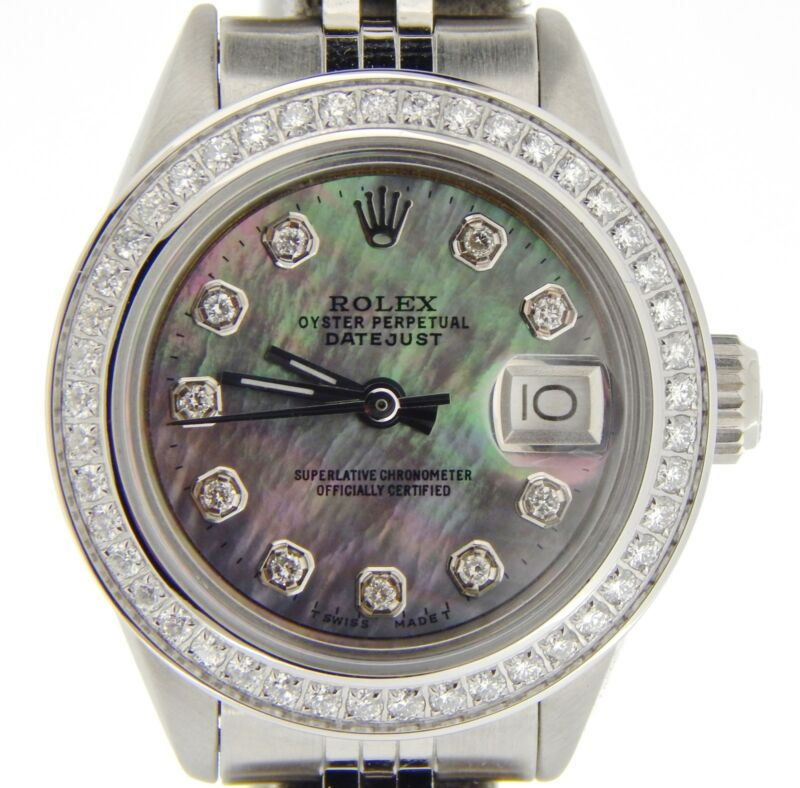 Rolex Datejust Lady Stainless Steel Watch Black Tahitian Mother Of Pearl Diamond