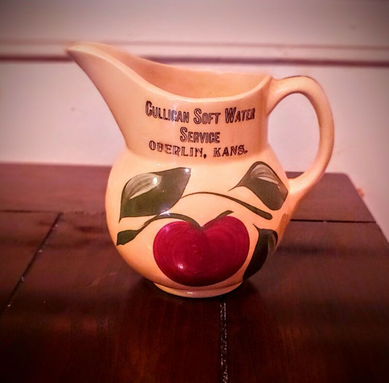 Watt Pottery 3 Leaf Red Apple Vintage Pitcher #15 stamped Oberlin KS