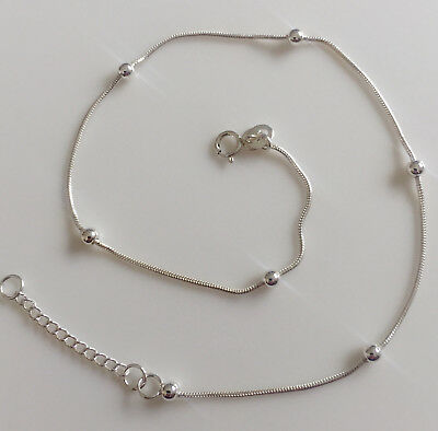 "New 925 Sterling Silver Beaded Ball Snake Chain Anklet Bracelet 10"" G011"