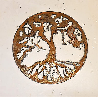 "6"" Tree of Life Circle Rusty Rough Metal Wall Art Craft Stencil Vintage Sign"