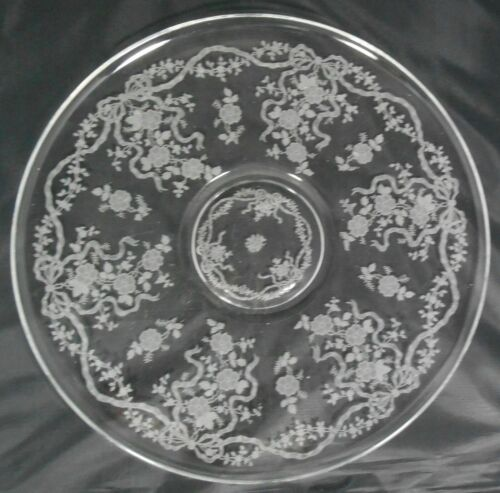 Fostoria Romance Etched Crystal Round Platter Torte Plate Bows Ribbons Flowers