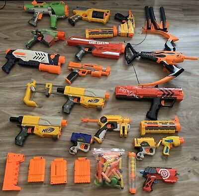 Nerf Gun Lot - 17 nerf guns, over 110 Darts Includes One Super Soaker And Bow