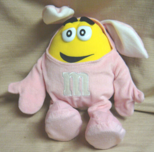 Yellow M&M PEANUT DOLL in Pink EASTER BUNNY SUIT