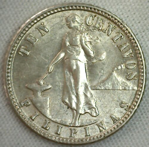 1944 D Philippines 10 Centavos Silver 10 Cent Coin UNCIRCULATED Eagle Shield M4
