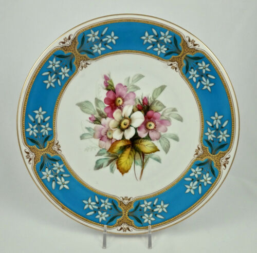 Antique Royal Worcester Cabinet Plate, Enameled for Tiffany
