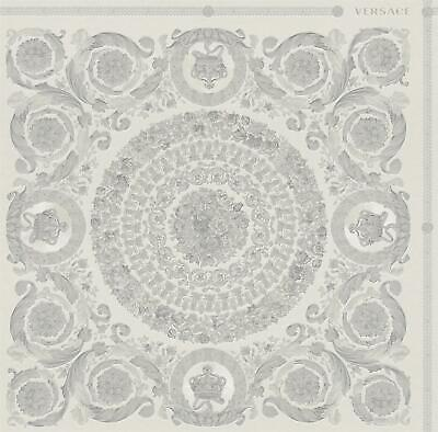 Versace Heritage Grey Silver Wallpaper Baroque Ornament Paste Wall Metallic