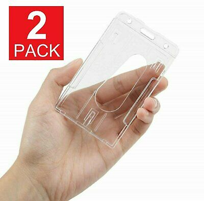 2-Pack ID Badge Holder Hard Plastic Card Holders Vertical Clothing, Shoes & Accessories
