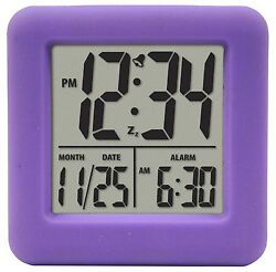 70904 Equity by La Crosse Soft Cube LCD Digital Alarm Clock - Purple