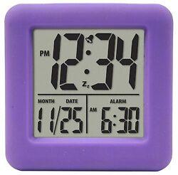 70912 Equity by La Crosse Soft Cube LCD Alarm Clock - Purple