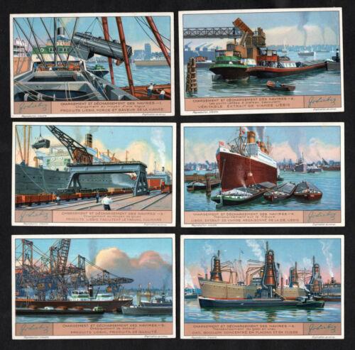 Dockyard Loading Ships Cards Set 1932 Liebig Dock Crane Port Barge Tug Railway