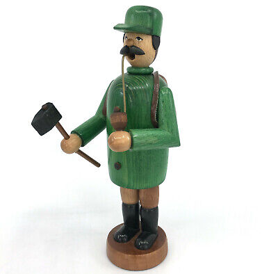 Erzgebirge Expertic DDR Incense Smoker Wooden Forest Woodsman with Axe 8in 20cm