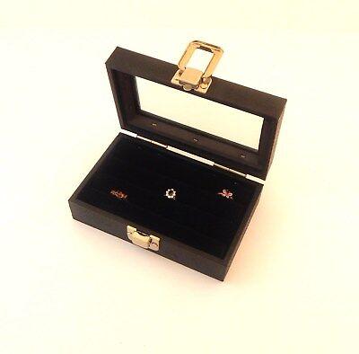 1 Small Glass Top Lid Black 3 Row Ring Display Case Ring Organizer Box