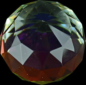 GLASS CRYSTAL PAPER WEIGHT COLOUR PYRAMID ORNAMENT PAPERWEIGHT GIFT SET NEW BALL