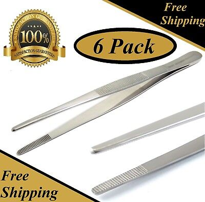 6 Pcs Thumb Dressing Forceps 8 Serrated Tweezers Surgical Instruments