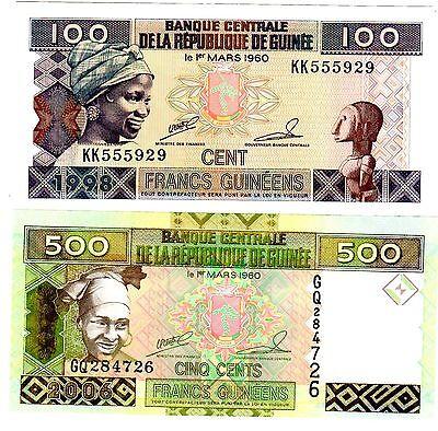 SET SERIE LOT 2 BILLETS Guinee GUINEA CONAKRY 100 & 500 FRANCS  NEUF UNC