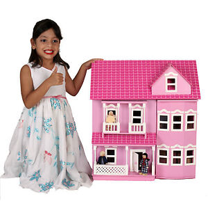BNIB-Beautiful-Pink-White-Wooden-Dolls-Doll-House-Free-40-Furniture-4-Dolls