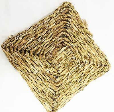 """1295 Square 6"""" Seagrass Mat Foraging Bird Toy parrot cage toys cages craft part"""