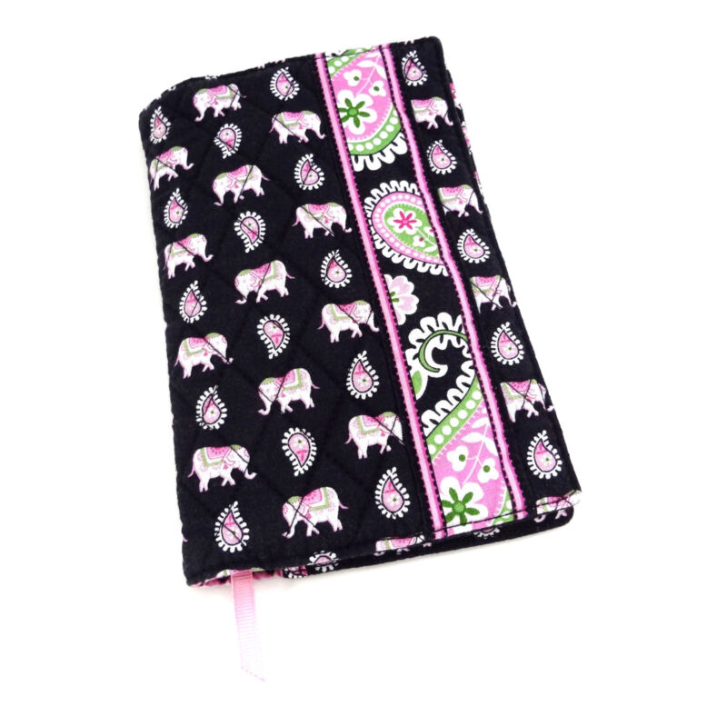 Vera Bradley Book Cover PINK ELEPHANTS Fabric Sleeve Paperback Notebook