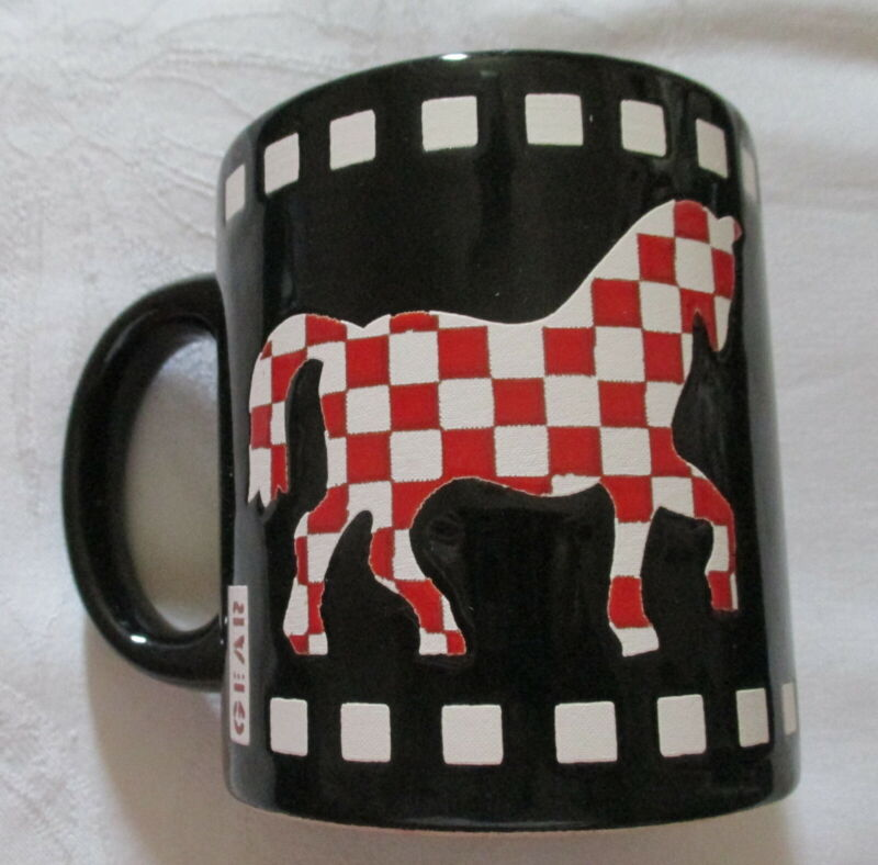 GLAZED GEAR WAECHTERSBACH-CERAMIC MUG-CHECKERED HORSE EACH SIDE-R or L HANDED